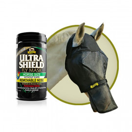 Masque Cheval Anti mouche Ultra Shield Ex Fly Mask avec filet amovible pour naseaux
